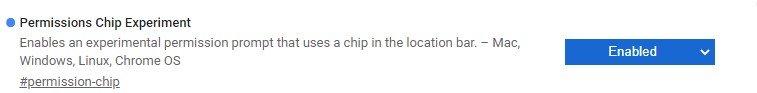 google chrome permissions chip flag