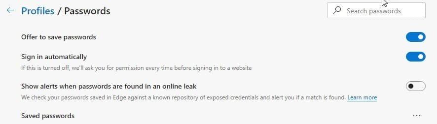 edge monitorizar leak passwords