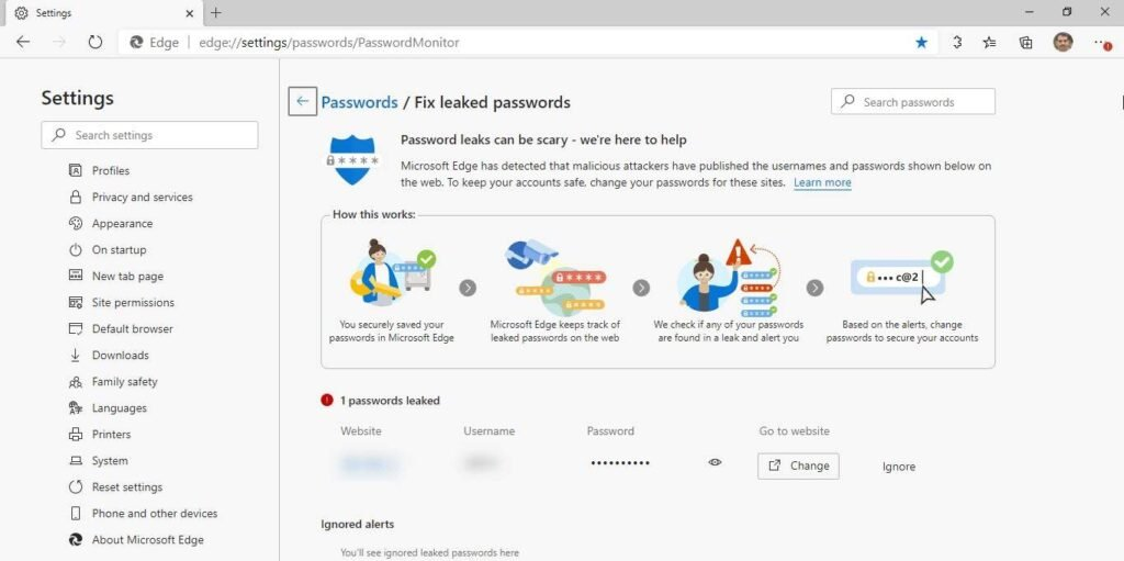 microsoft edge monitorização de passwords