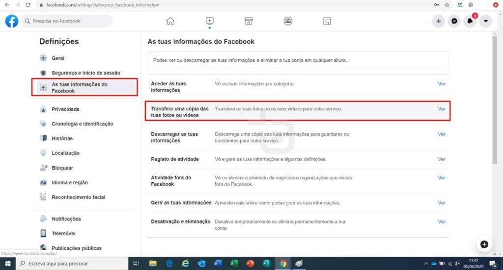 exportar fotos facebook para google photos passo 2