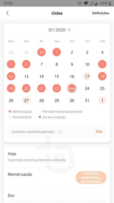 mi band 5 monitorizacao periodo menstrual
