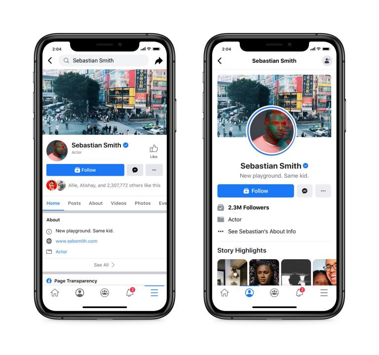 facebook nova visualização de páginas