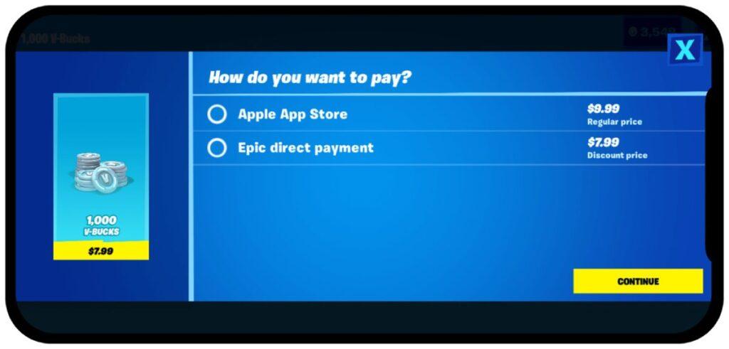 fortnite pagamento app store externo