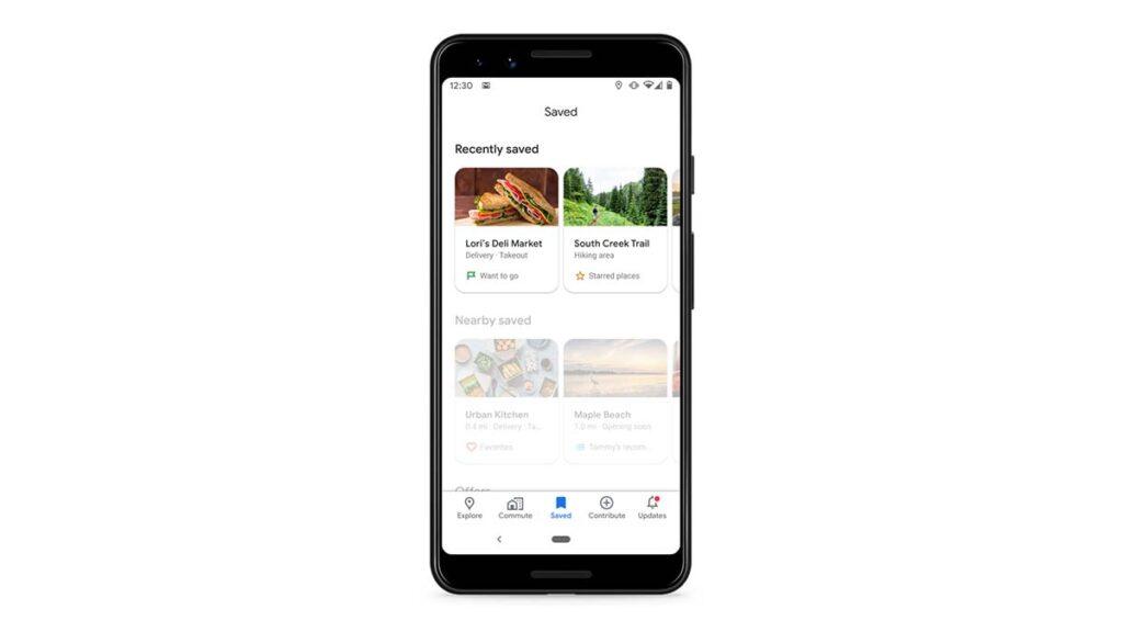 google maps locais guardados recentemente