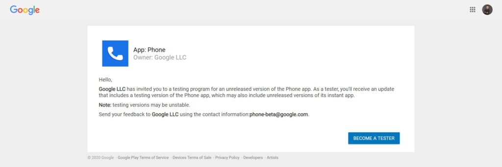 google phone beta android