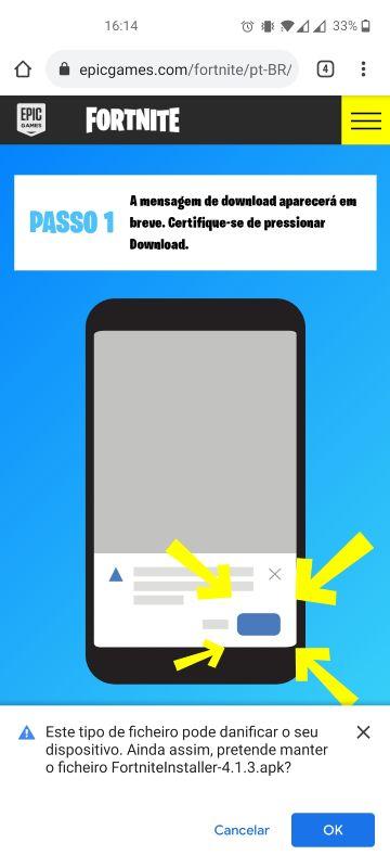 instalar fortnite android passo 2
