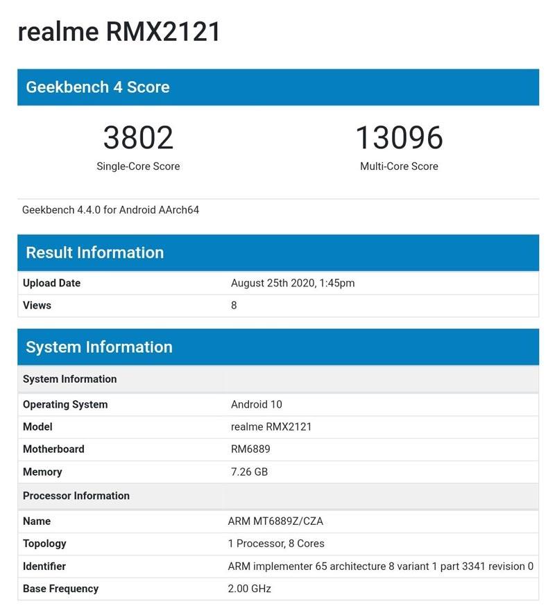 realme x7 pro benchmark geekbench 4