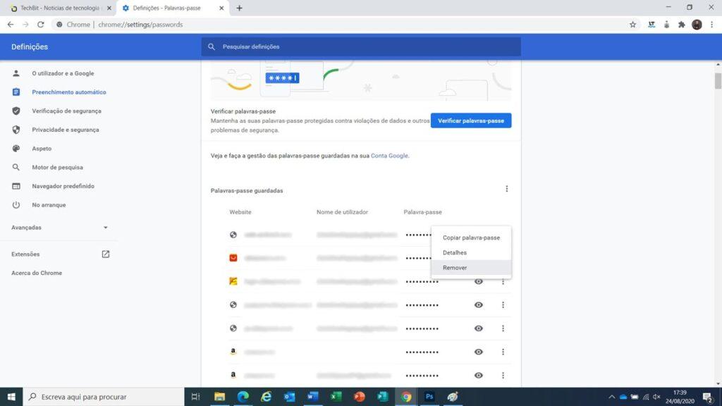 remover passwords google chrome