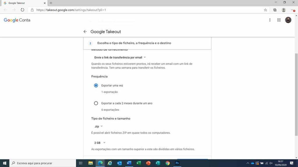 exportar dados pessoais google