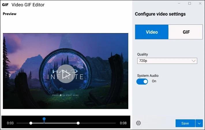 microsoft app gravacao ecra video gif