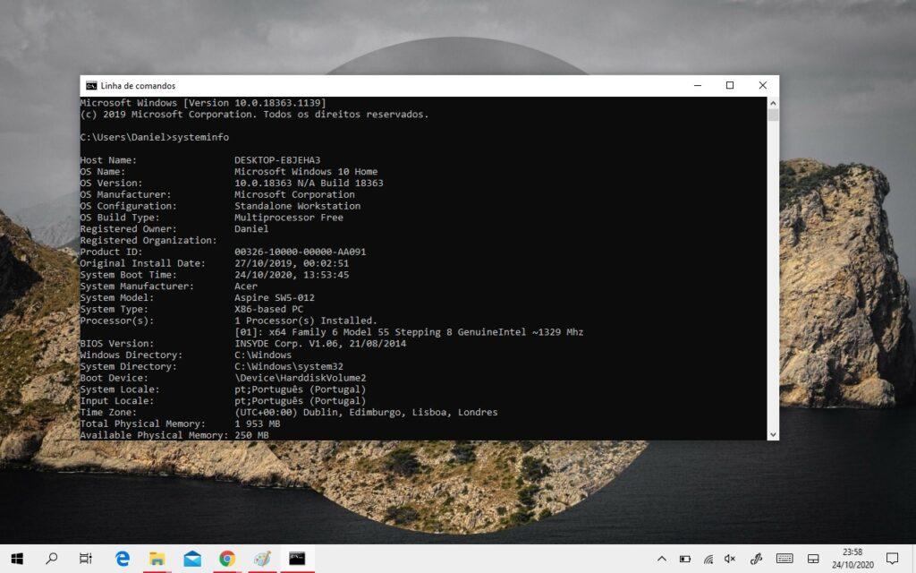 saber caracteristicas computador linha de comandos