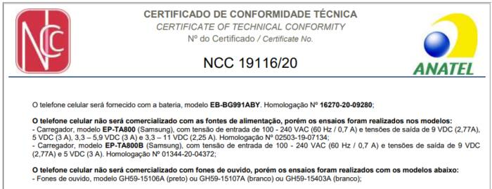 anatel certificacao samsung s21 sem carregador
