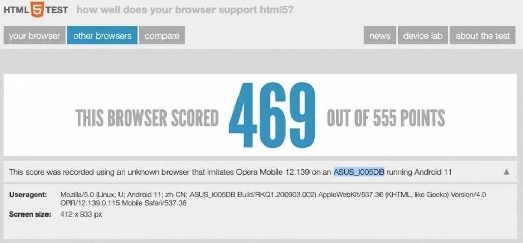 asus rog phone 5 benchmark html5