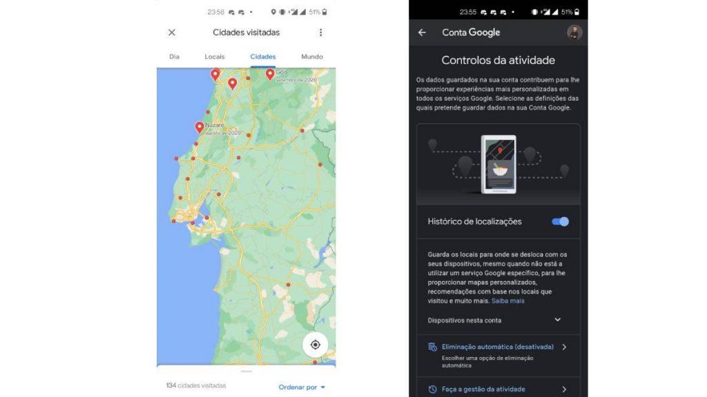 google maps desativar linha cronologica