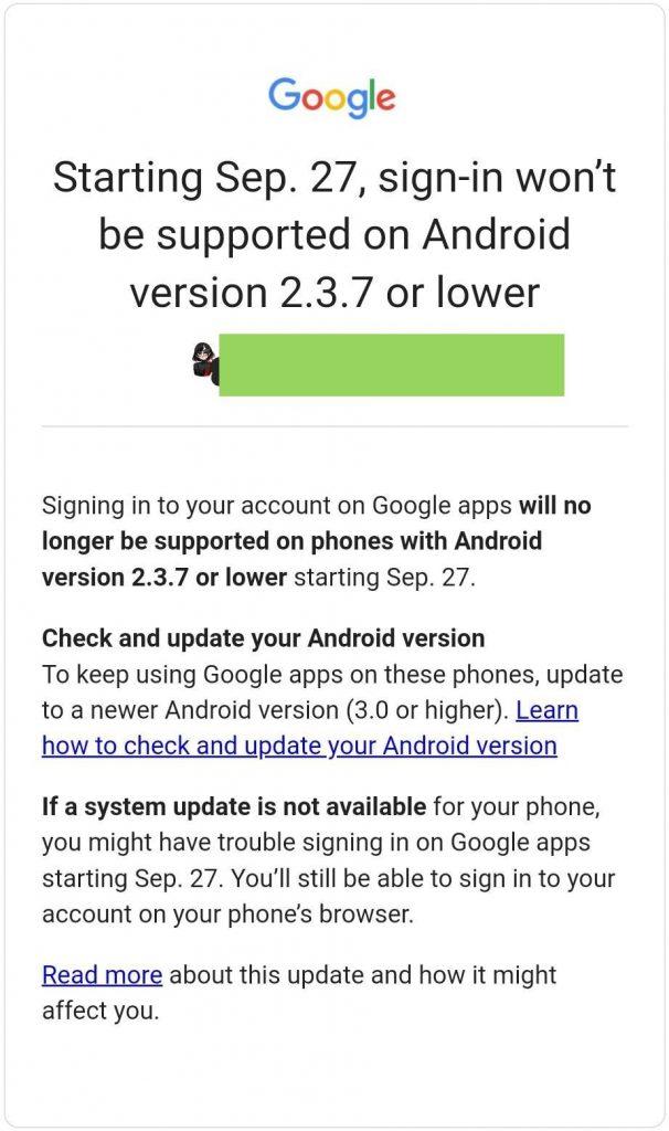 Android Gingerbread Google serviços